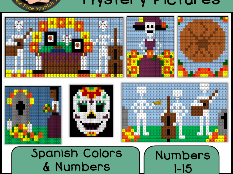 Day of the Dead, Día de los Muertos Color By Number Mystery Pictures