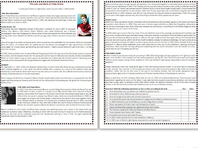 The Life and Work of Frida Kahlo - Reading Comprehension Worksheet / Biography