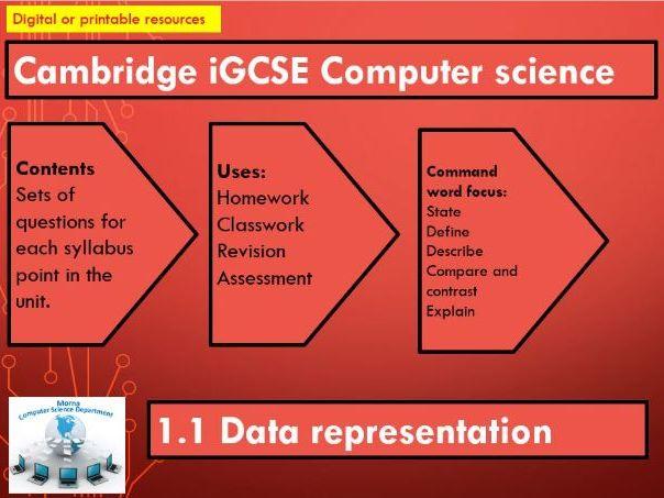 iGCSE Computer Science Revision Activities Unit 1.1 Data representation