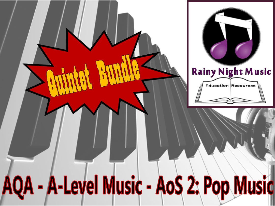 AQA A Level POP MUSIC Quintet Bundle FIVE quality resources for the new specification