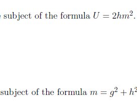 Changing the subject of a formula worksheets (with solutions)