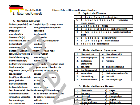 Edexcel A Level Vocabulary Worksheets - Themes 1 and 2