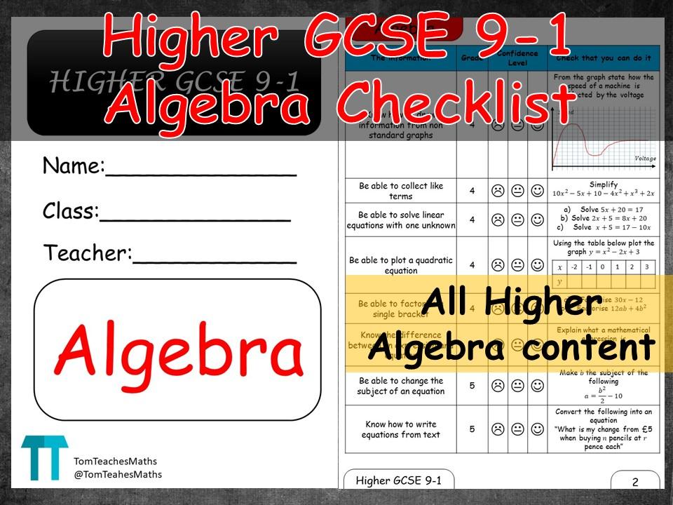 Maths GSCE 9-1 Higher Algebra revision checklist