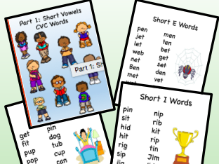 Short Vowel CVC Reading Lists