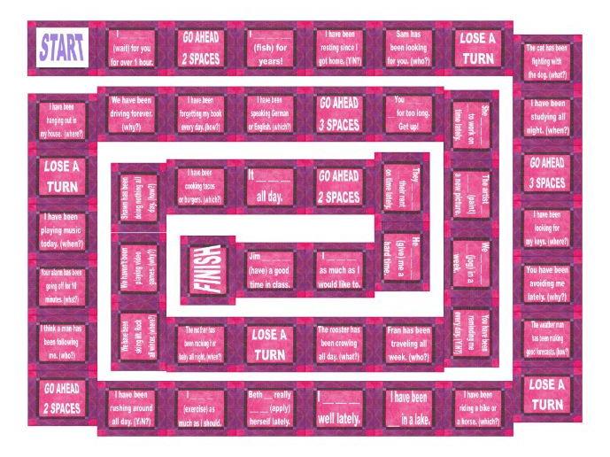 Present Perfect Continuous Tense Board Game