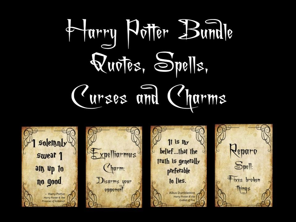 Harry Potter Bundle of Quotes, Spells, Curses and Charms