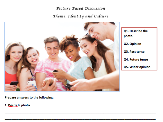 GCSE French Picture Based Task Booklet (Foundation)