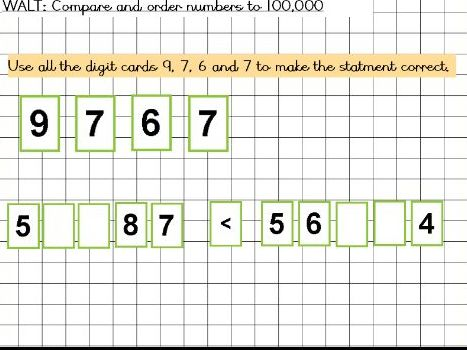 Compare and order numbers to 100,000 year 5