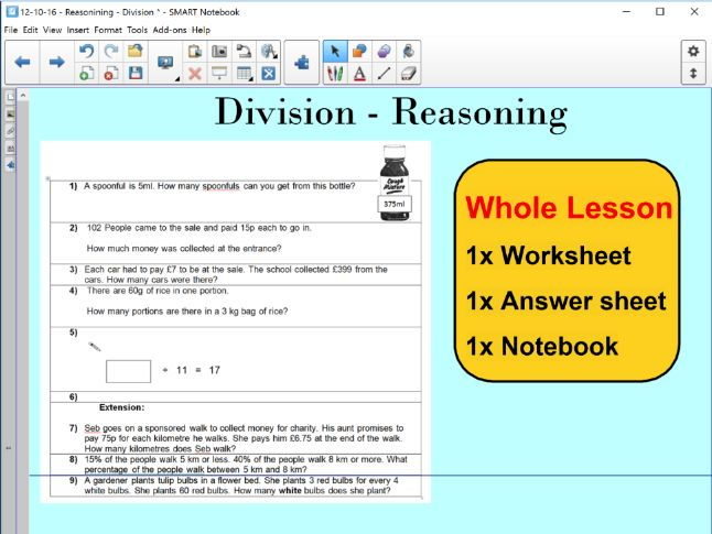 Whole Lesson Reasoning - Division - KS2 - Year 5 & 6
