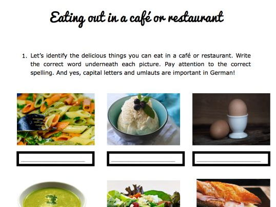 Eating out in a German restaurant or café