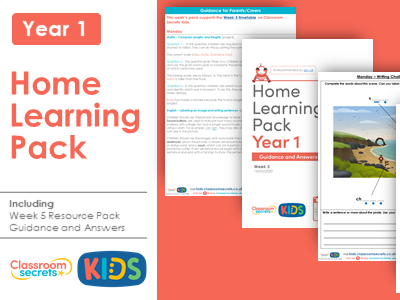 FREE Week 5 Home Learning Pack for Year 1