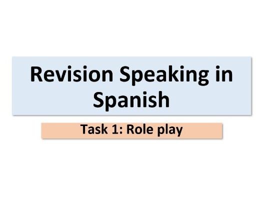 GCSE Spanish-Speaking revision- role play