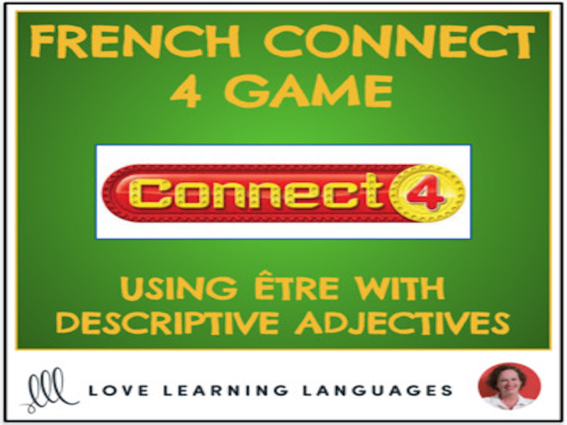 French Connect 4 Game - Present tense être with descriptive adjectives