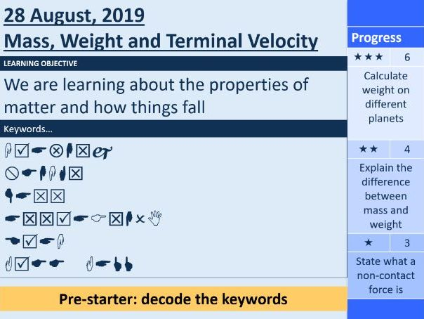 Mass, Weight and Terminal Velocity (GCSE Physics)