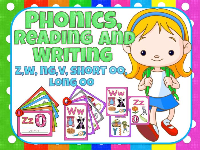 Jolly Phonics- Reading and writing for centers - z,w, ng,v, short oo, long oo