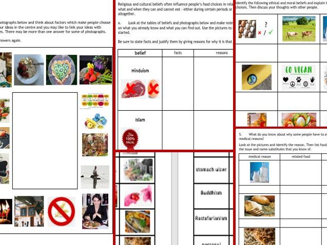 NEW GCSE Food Technology AQA/Edexcel: Food Choice - 7-page work book, cue cards with pics/words
