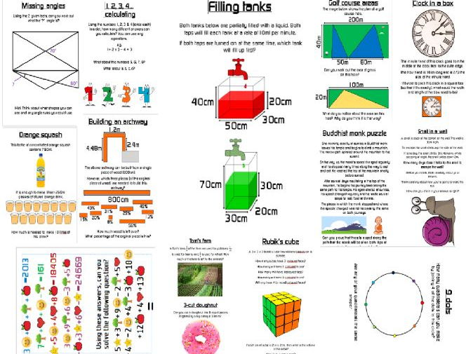 Weekly maths problems posters