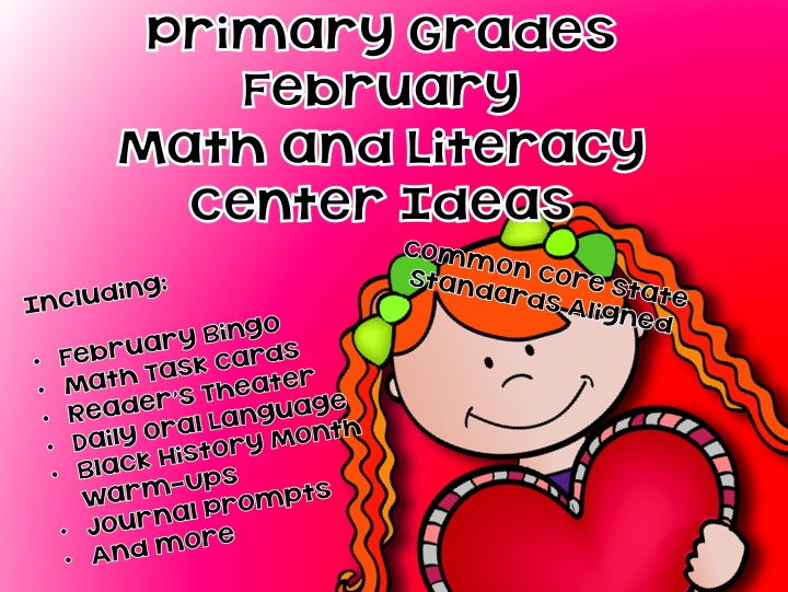 February Themed Math and Literacy Unit -- Elementary  - 212 Pages