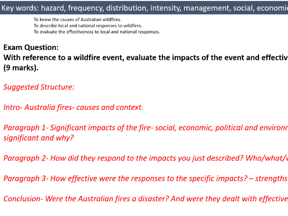 Fires in Nature- Australia 2019-2020 case study- Natural Hazards- A Level Geography