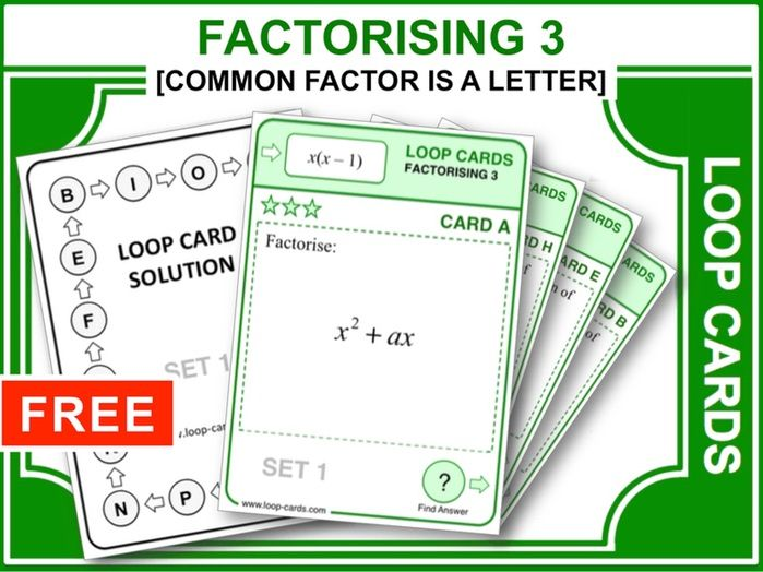 Factorising 3 (Loop Cards)