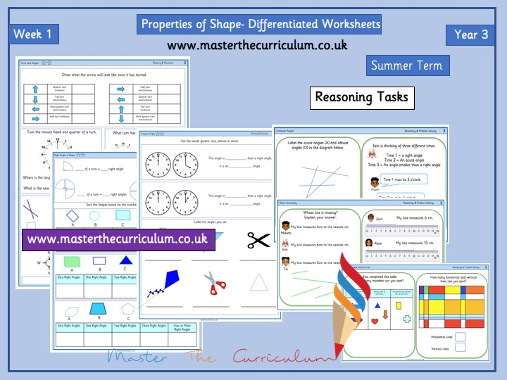 Year 3- Summer - Week 1 Differentiated Properties of Shape Worksheets - White Rose Style