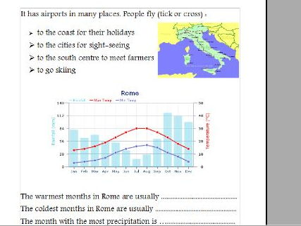 Geography of Italy Lesson (powerpoint and worksheet)