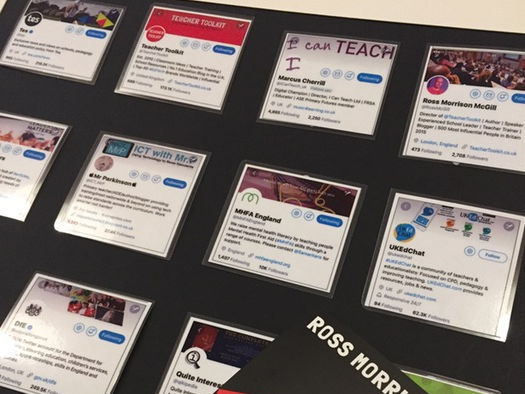 A display for the staffroom on top twitter accounts to follow