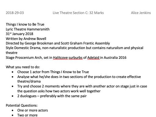 GCSE AQA Drama Section C Live Theatre Guideline