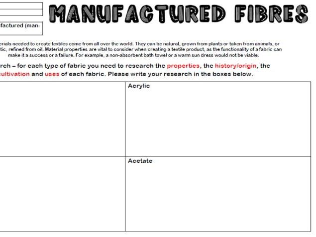 Natural and Manufactured Fibres