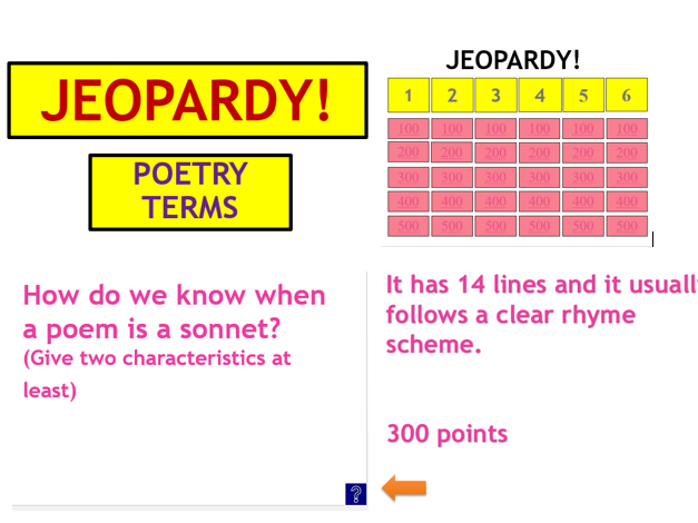 Poetry Terms Jeopardy Game! NEW 2017 GCSE English Literature Spec.