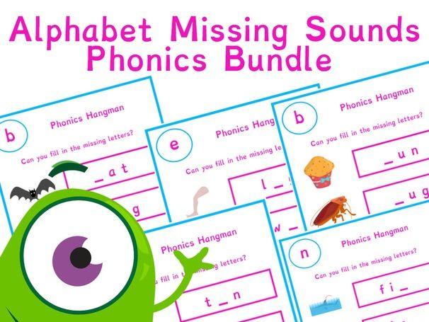 Alphabet Missing Phonics Sounds Worksheet Bundle 28 Pages | Phonics Resources