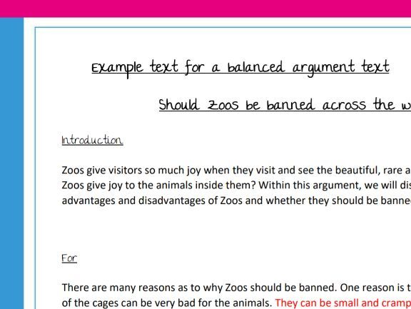 Balanced argument - writing prompt, example and planning sheet KS2