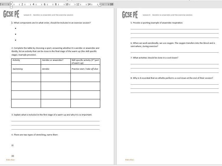 Edexcel GCSE PE (9-1) Units of Work