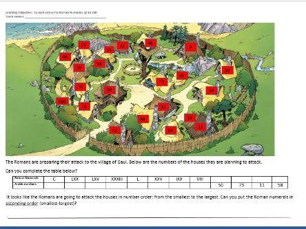 Roman Numerals through Asterix Year 4 differentiated