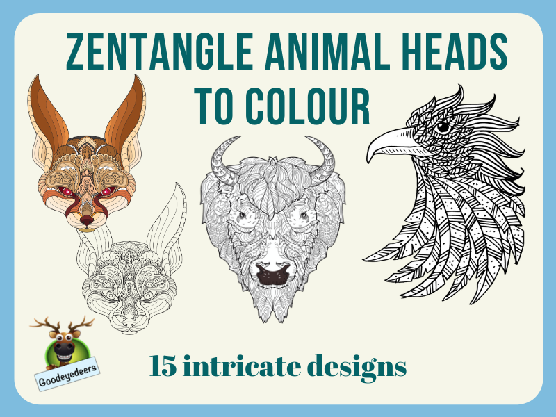 Zentangle Animal Heads to Colour