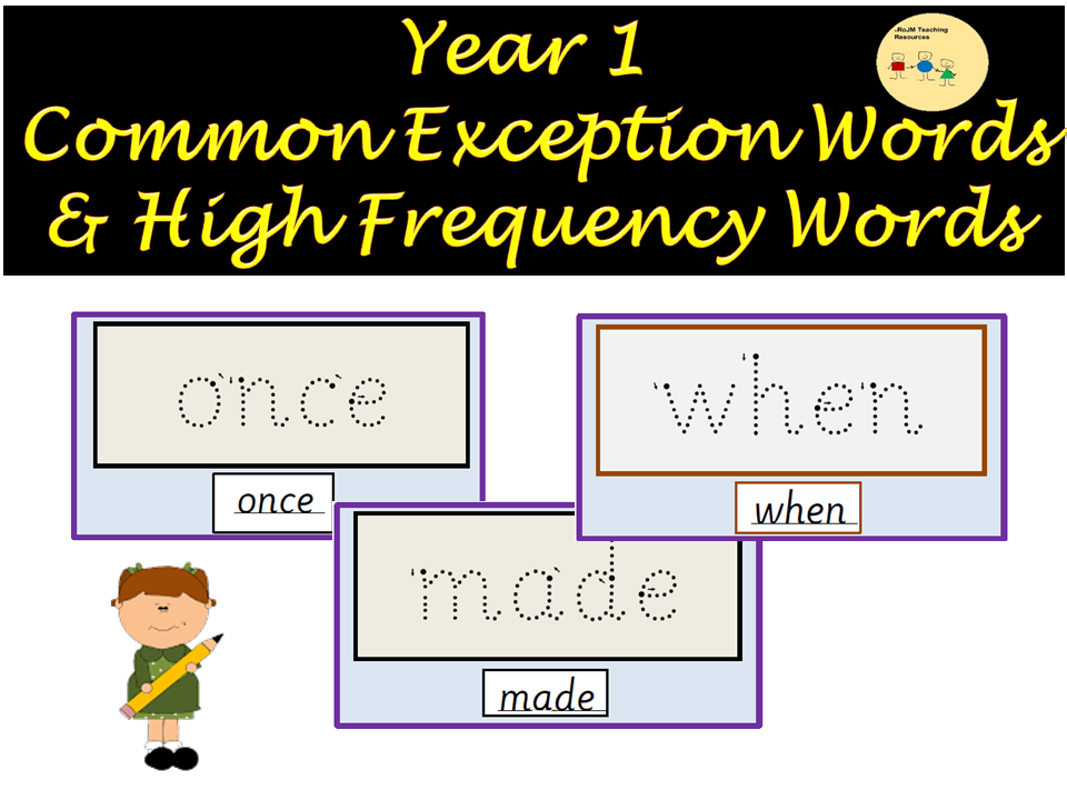 Letters/Sounds Phonics: Read/Trace Over Year 1 High Frequency/Common Exception Words Spellings