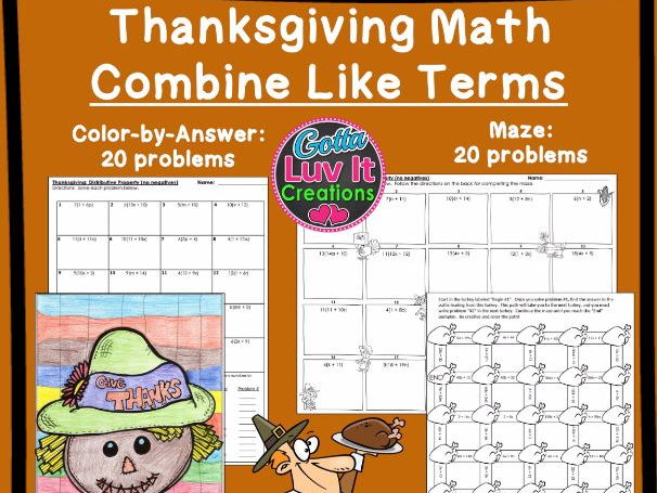 Thanksgiving Math Combine Like Terms