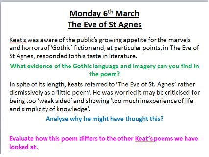 Keats Poetry- AQA Aspects of Tragedy - The Eve of St Agnes