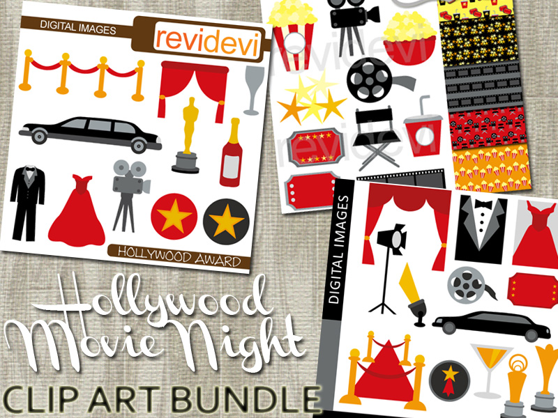 Hollywood Movie Night Clip Art BUNDLE - Red Carpet Party