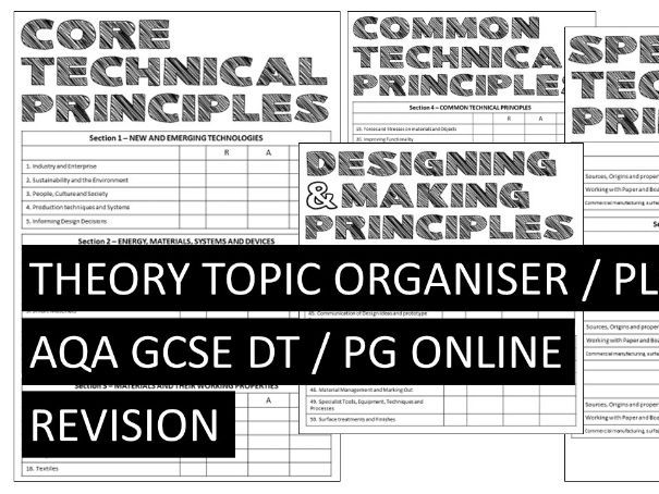 THEORY ORGANISER / REVISION TRACKER AQA GCSE DT