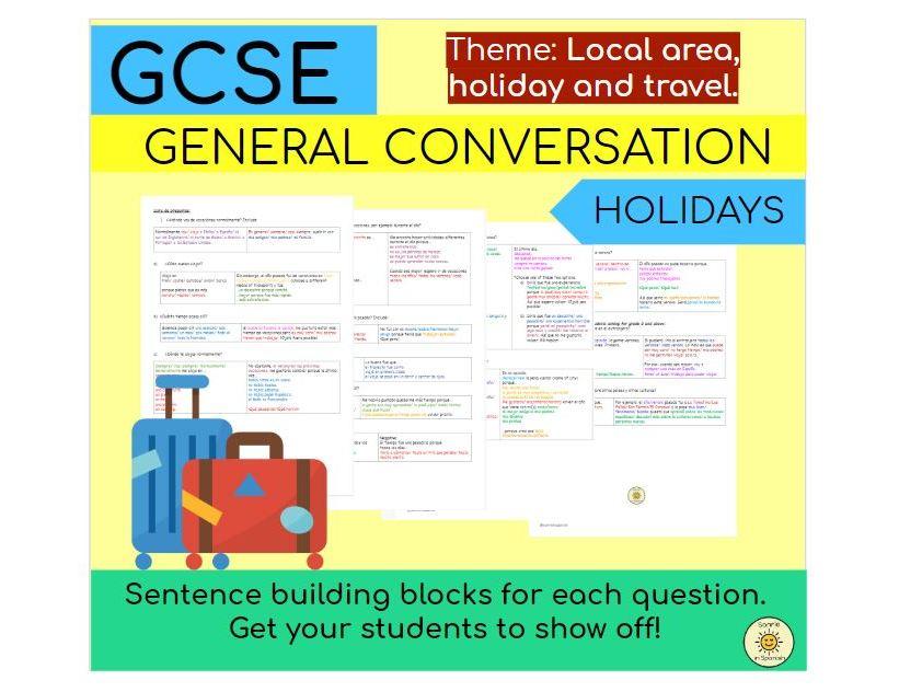 Local area, holiday and travel (holidays)  Sentence building blocks Spanish GCSE - Las vacaciones