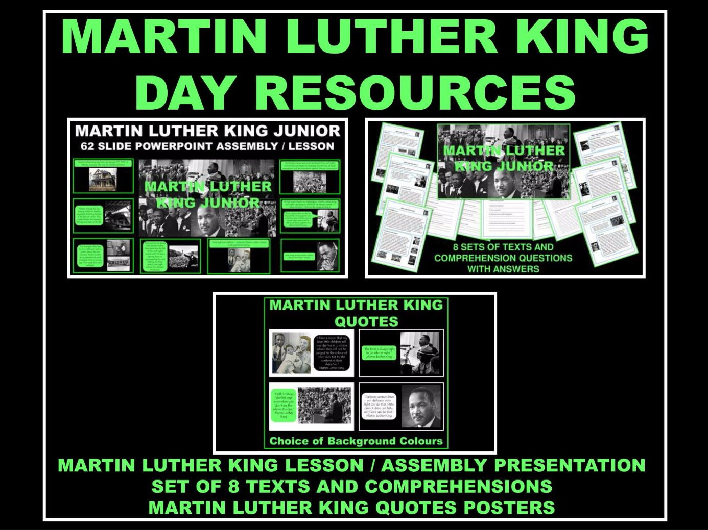 Martin Luther King Day Resources - PowerPoint Assembly / Lesson - Set of 8 Texts and Comprehensions - Martin Luther King Quotes Posters