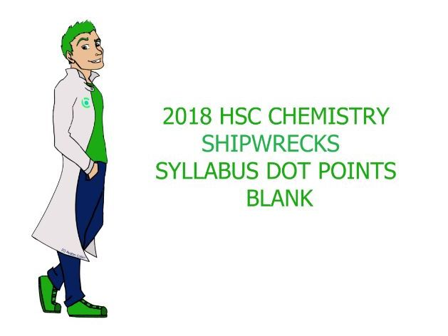 Shipwrecks Syllabus Dot Points Blank - HSC CHEMISTRY