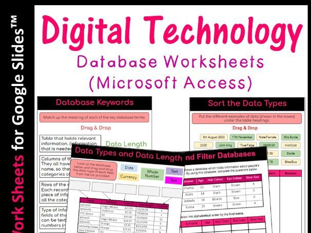 Digital Technology Databases Worksheets (Microsoft Access) Distance Learning