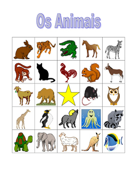 Animais (Animals in Portuguese) Bingo game