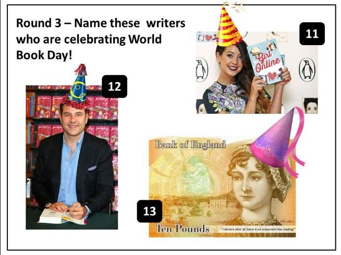 World Book Day Form Time/ Lesson starter Quiz