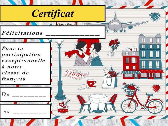 General French certificate 7/ Certificat de francais 7