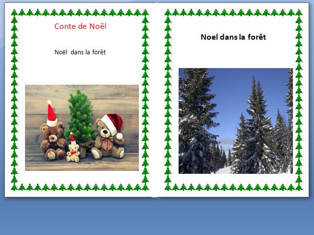 Noel dans la foret. Conte de Noel en francais-Worksheet