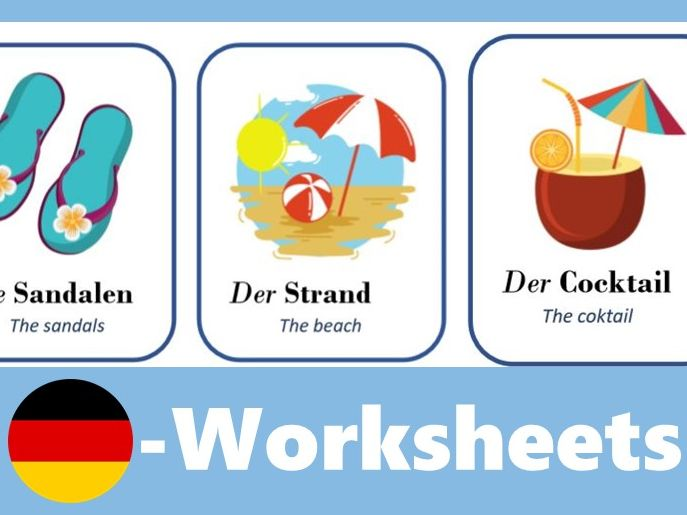 Der Sommer - Flash Cards German summer (with images and translations)