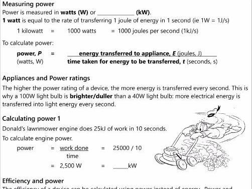 GCSE AQA P1.9 Energy and Power workbook